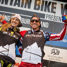 Rachel Atherton und Aaron Gwin - Sieger Leogang Weltcup 2015